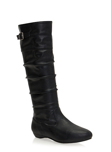 Slouchy Flat Boots with Buckle Strap,BLACK CRINKLE,large