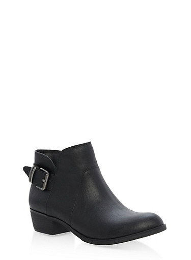 Back Buckle Booties,BLACK PU,large