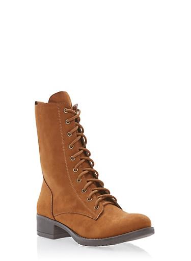 Lace Up Combat Boots,COGNAC F/S,large