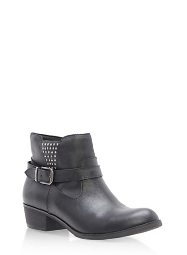 Side Buckle Studded Booties,BLACK PU,large