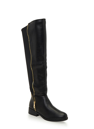 Over The Knee Boots with Zipper Teeth Trim,BLACK,large