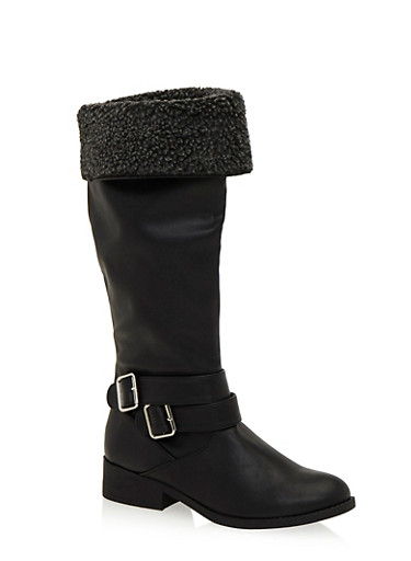 Faux Shearling Foldover Cuff Riding Boots,BLACK,large