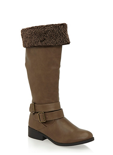 Shearling Foldover Cuff Riding Boots,TAUPE,large