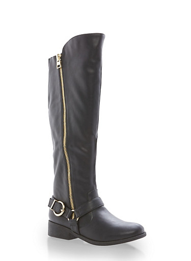 Faux Leather Zip Up Riding Boots,BLACK,large