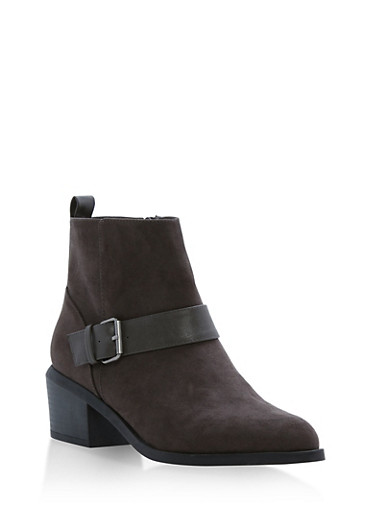 Faux Suede Booties with Buckle Accent,CHARCOAL F/S,large