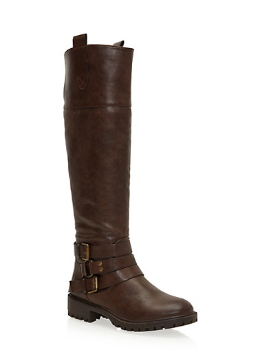 Riding Boots with Ankle Straps,BROWN,large