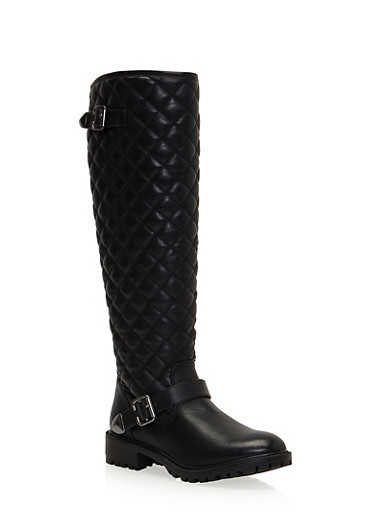 Quilted Riding Boots with Buckle Strap,BLACK,large