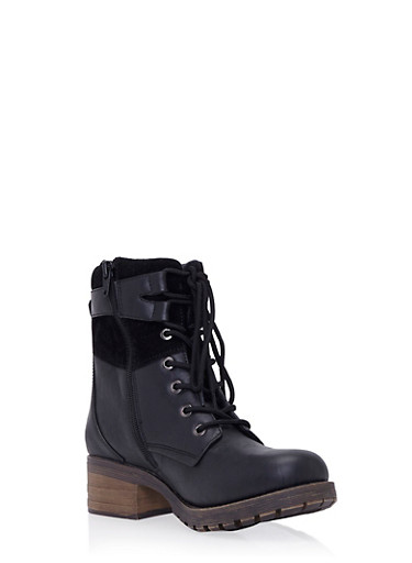 Faux Leather Combat Boots with Chunky Heels,BLACK,large