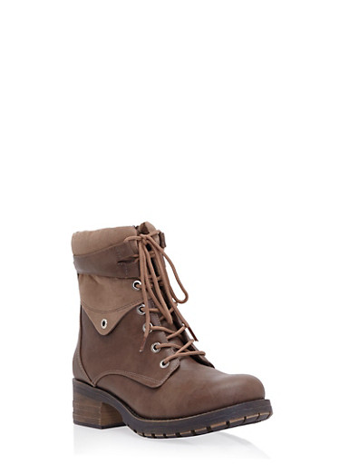 Faux Leather Combat Boots with Chunky Heels,TAUPE,large