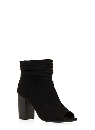 Faux Suede Ankle Boots with Open Toes and Ruched Ankles,BLACK,large