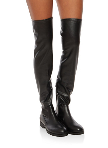 Flat Over the Knee Boots,BLACK PU,large