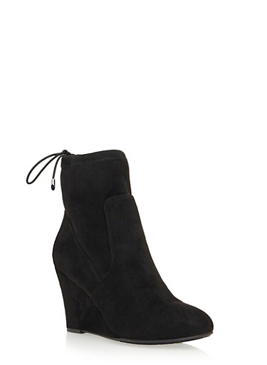 Faux Suede Wedge Ankle Boots with Cinch Top,BLACK MICRO,large