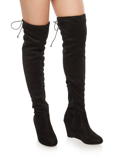 Stretch Over the Knee Wedge Boots,BLACK F/S,large