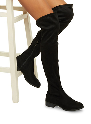 Over The Knee Boots with Cinch Cuffs,BLACK,large