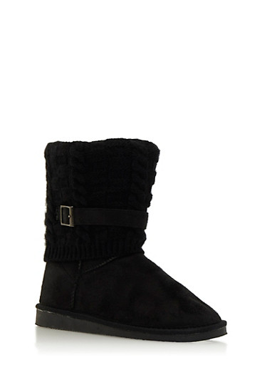 Shearling Style Faux Suede Boots with Knit Overlay,BLACK,large