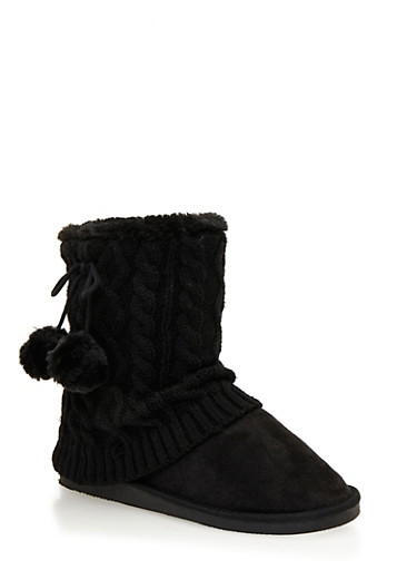 Boots with Pom Pom Tie and Cable Knit Trim,BLACK,large