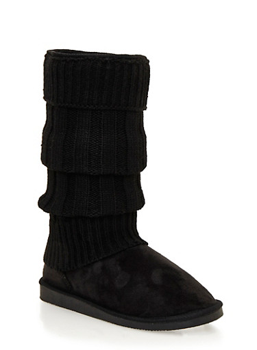 Mid-Calf Shearling Style Faux Suede Sweater Boots,BLACK,large
