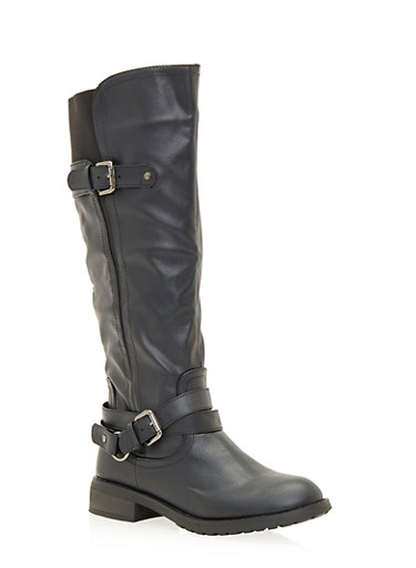 Buckled Knee High Boots,BLACK,large