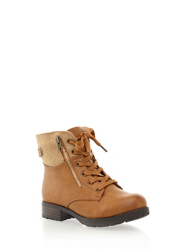 Pile Trim Zipper Accented Lace-Up Ankle Boot,COGNAC,large