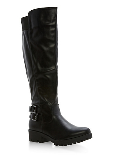 Double Buckle Tall Riding Boots,BLACK,large