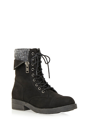 Faux Suede Combat Boots with Peekaboo Knit Panel,BLACK,large