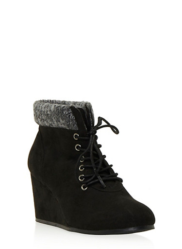 Faux Suede Wedge Booties with Sweater Trim,BLACK,large
