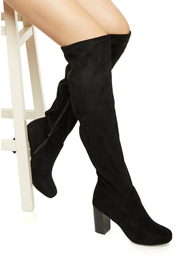 Faux Suede Knee High Boots with Stacked Heels,BLACK,large