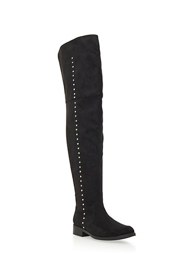 Faux Suede Over-the-Knee Boots with Metallic Studs,BLACK,large