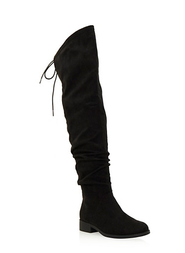 Faux Suede Over-the-Knee Boots with Cinch at Top,BLACK,large