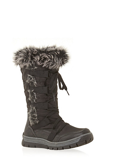 Lace Up Snow Boots with Faux Fur,BLACK,large