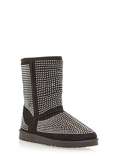 Shearling Style Boots with All Over Rhinestone Studs,BLACK,large