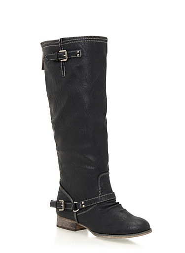 Knee High Boots with Contrast Stitching,BLACK,large