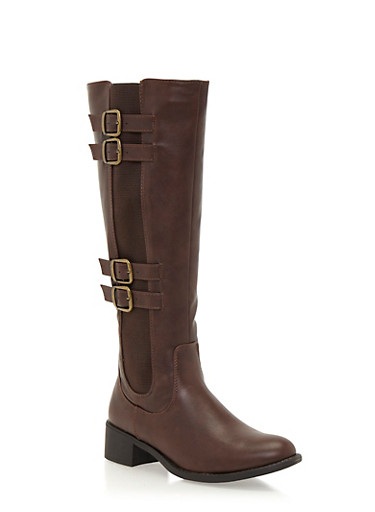 Tall Boots with Buckle Straps,BROWN,large