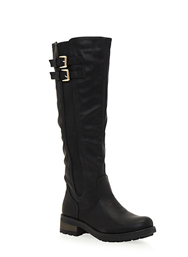 Knee High Boots with Side Buckle Cinches,BLACK,large