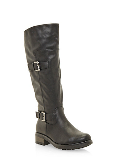 Knee High Boots with Buckle Accents,BLACK,large