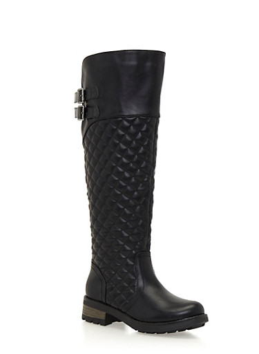 Quilted Riding Boots with Buckle Straps,BLACK,large