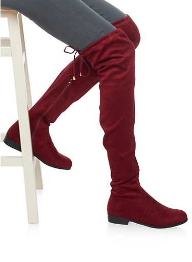 Brushed Suede Thigh High Boots with Tie Back Detail,BURGUNDY,large