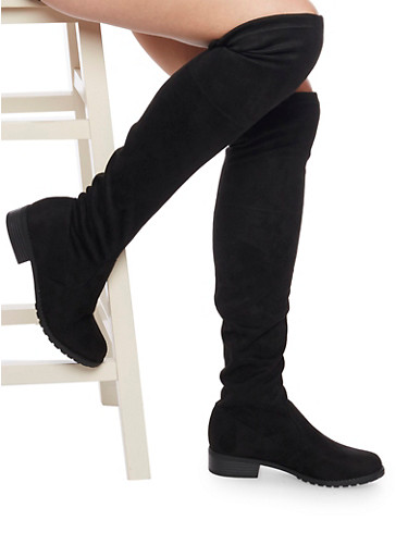 Tie Back Thigh High Boot,BLACK F/S,large