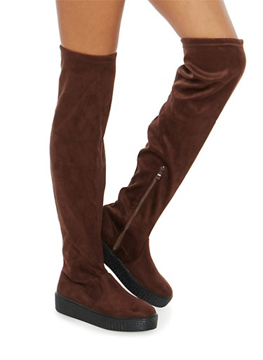 Creeper Sole Over the Knee Boots,BROWN,large
