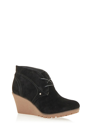 Lace Up Wedge Booties in Faux Suede,BLACK F/S,large
