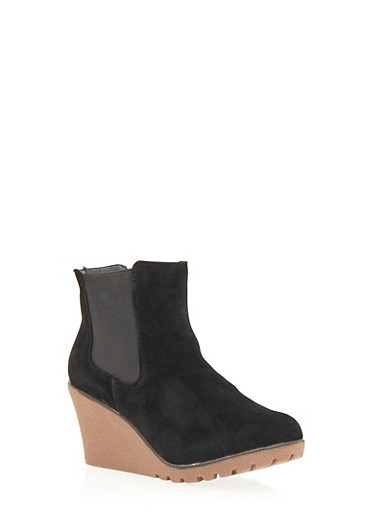 Wedge Ankle Boot with Elastic Side Panels,BLACK F/S,large