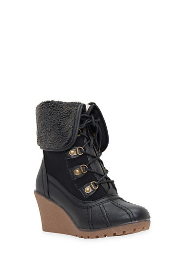 Lace Up Foldover Wedge Boots with Sherpa Lining,BLACK,large