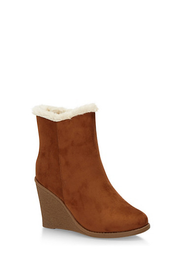 Faux Suede Shearling Lined Wedge Booties,CAMEL F/S,large