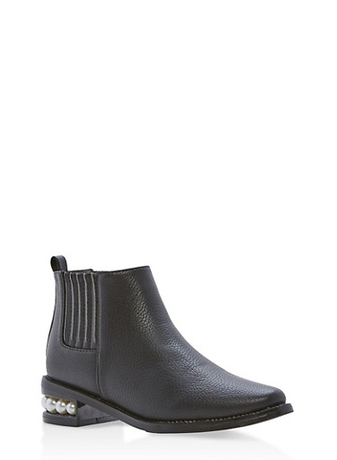 Faux Leather Ankle Boots with Faux Pearl Accents,BLACK PU,large
