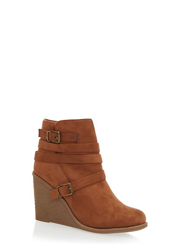 Strappy Wedge Ankle Boots,CAMEL F/S,large