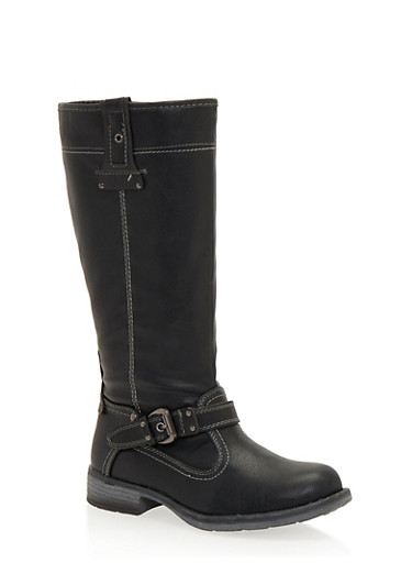 Stitched Biker Boots with Buckle Strap,BLACK,large