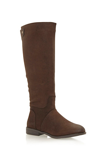 Tall Flat Riding Boots,BROWN,large