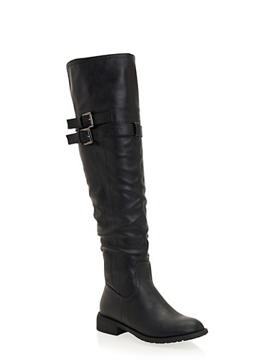 Flat Over the Knee Boots with Buckle Straps,BLACK,large