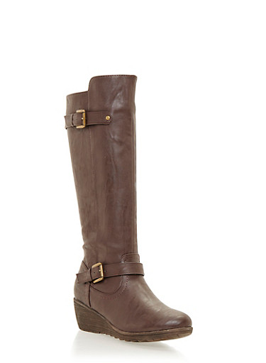 Wedge Boots with Buckle Straps,BROWN,large