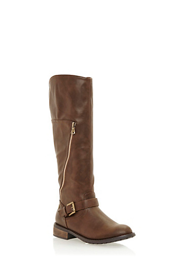 Flat Boots with Buckle Strap and Zipper Detail,BROWN,large